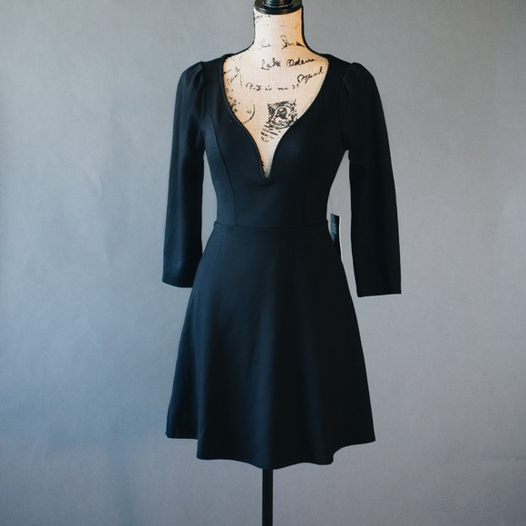 2c2285d5725b8f Express Dresses | Nwt Black Dress Long Sleeve Flared Skirt | Poshmark